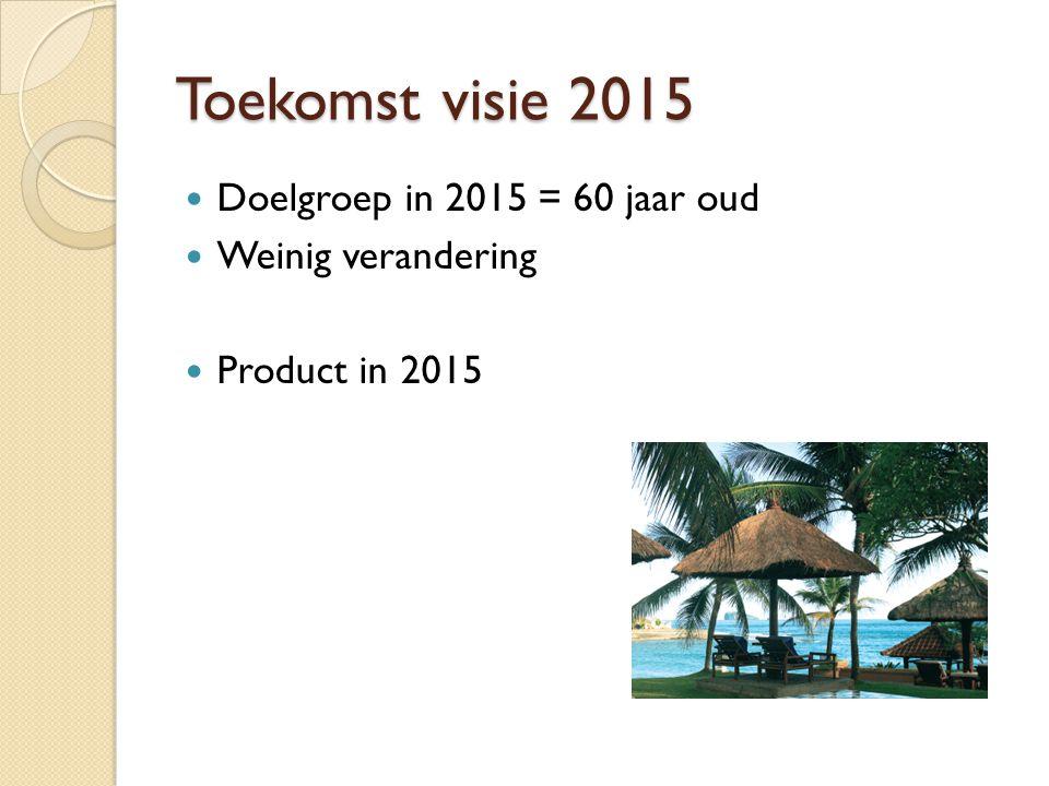 Toekomst visie 2015 Doelgroep in 2015 = 60 jaar oud Weinig verandering Product in 2015