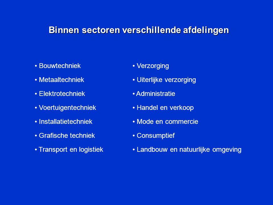 Binnen sectoren verschillende afdelingen Bouwtechniek Metaaltechniek Elektrotechniek Voertuigentechniek Installatietechniek Grafische techniek Transport en logistiek Verzorging Uiterlijke verzorging Administratie Handel en verkoop Mode en commercie Consumptief Landbouw en natuurlijke omgeving