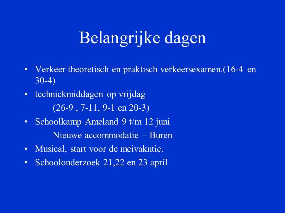 Belangrijke dagen Verkeer theoretisch en praktisch verkeersexamen.(16-4 en 30-4) techniekmiddagen op vrijdag (26-9, 7-11, 9-1 en 20-3) Schoolkamp Ameland 9 t/m 12 juni Nieuwe accommodatie – Buren Musical, start voor de meivakntie.