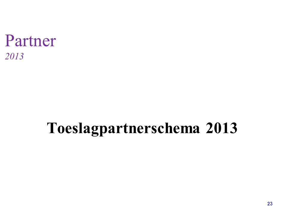 23 Partner 2013 Toeslagpartnerschema 2013