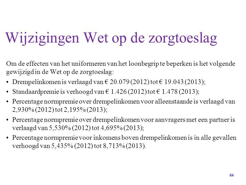 64 Om de effecten van het uniformeren van het loonbegrip te beperken is het volgende gewijzigd in de Wet op de zorgtoeslag: Drempelinkomen is verlaagd van € 20.079 (2012) tot € 19.043 (2013); Standaardpremie is verhoogd van € 1.426 (2012) tot € 1.478 (2013); Percentage normpremie over drempelinkomen voor alleenstaande is verlaagd van 2,930% (2012) tot 2,195% (2013); Percentage normpremie over drempelinkomen voor aanvragers met een partner is verlaagd van 5,530% (2012) tot 4,695% (2013); Percentage normpremie voor inkomens boven drempelinkomen is in alle gevallen verhoogd van 5,435% (2012) tot 8,713% (2013).