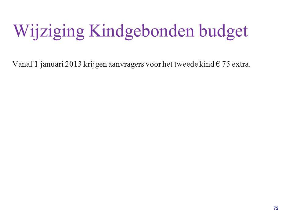 72 Vanaf 1 januari 2013 krijgen aanvragers voor het tweede kind € 75 extra.