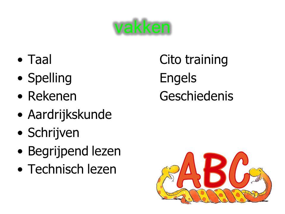 TaalCito training SpellingEngels RekenenGeschiedenis Aardrijkskunde Schrijven Begrijpend lezen Technisch lezen