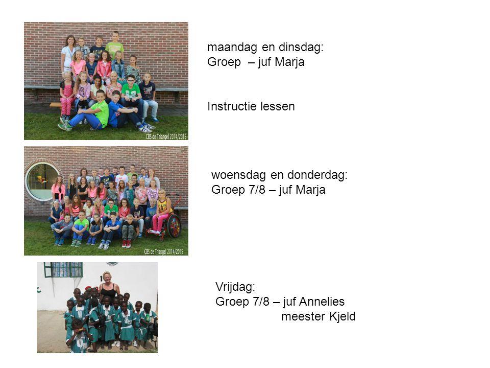 maandag en dinsdag: Groep – juf Marja Instructie lessen woensdag en donderdag: Groep 7/8 – juf Marja Vrijdag: Groep 7/8 – juf Annelies meester Kjeld