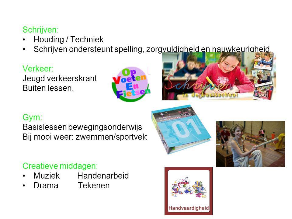 Schrijven: Houding / Techniek Schrijven ondersteunt spelling, zorgvuldigheid en nauwkeurigheid. Verkeer: Jeugd verkeerskrant Buiten lessen. Gym: Basis