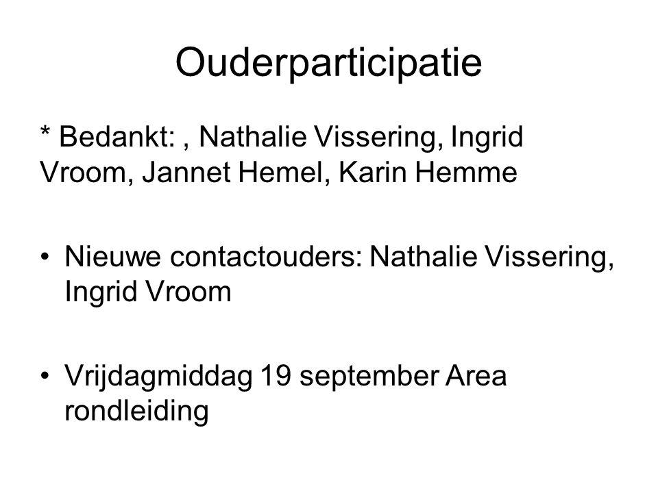 Ouderparticipatie * Bedankt:, Nathalie Vissering, Ingrid Vroom, Jannet Hemel, Karin Hemme Nieuwe contactouders: Nathalie Vissering, Ingrid Vroom Vrijd