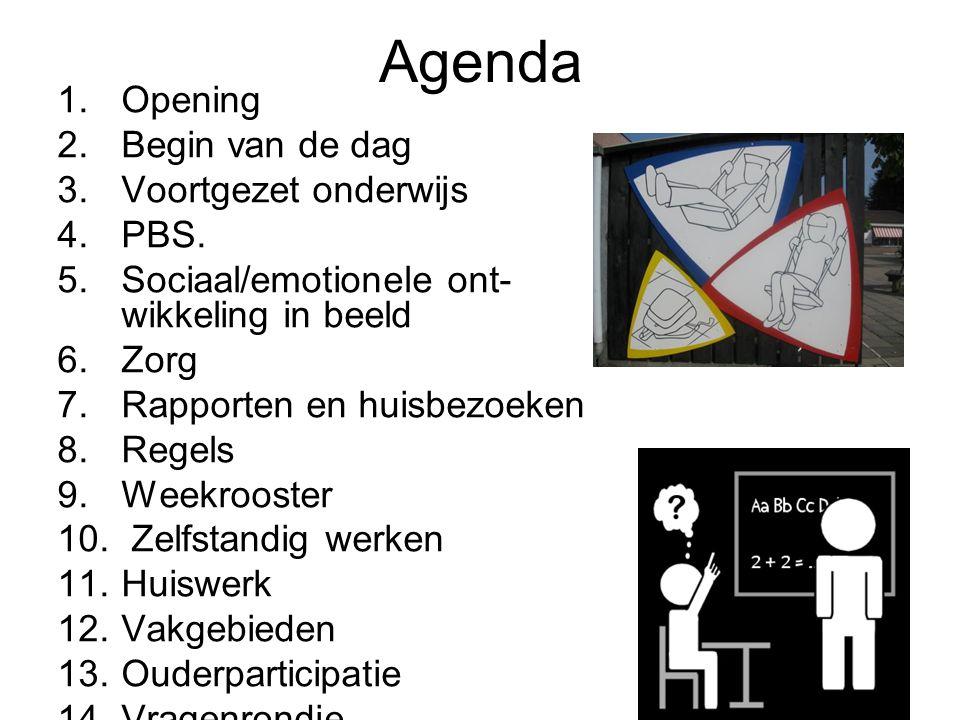 Agenda 1.Opening 2.Begin van de dag 3.Voortgezet onderwijs 4.PBS. 5.Sociaal/emotionele ont- wikkeling in beeld 6.Zorg 7.Rapporten en huisbezoeken 8.Re