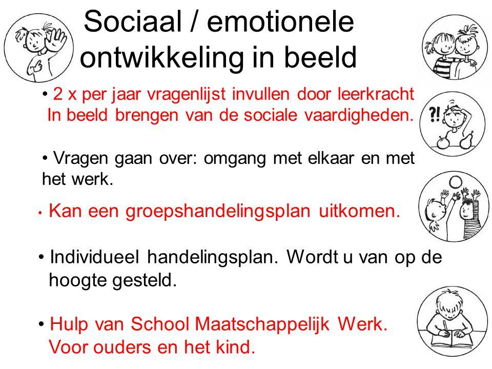 Sociaal / emotionele ontwikkeling in beeld 2 x per jaar vragenlijst invullen door leerkracht In beeld brengen van de sociale vaardigheden. Vragen gaan