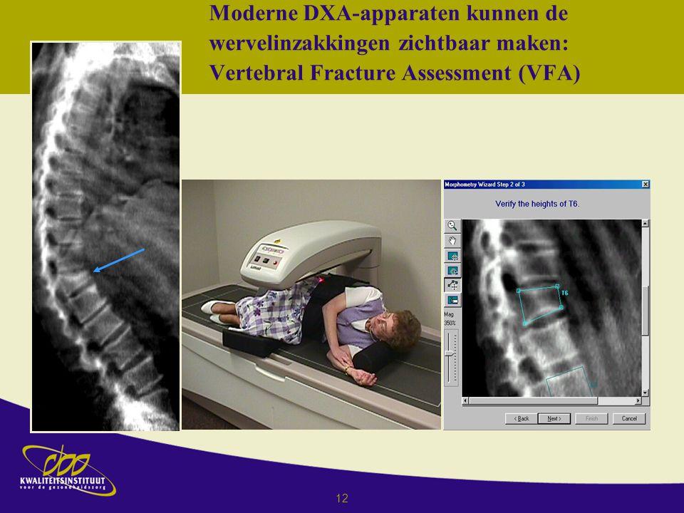 12 Moderne DXA-apparaten kunnen de wervelinzakkingen zichtbaar maken: Vertebral Fracture Assessment (VFA)