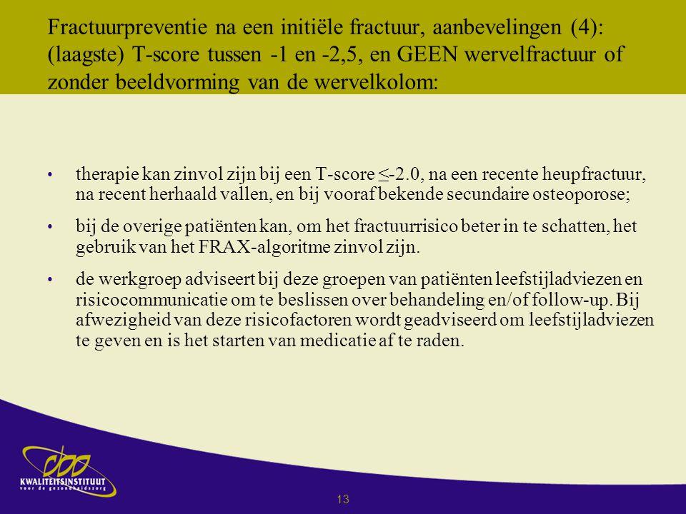 13 Fractuurpreventie na een initiёle fractuur, aanbevelingen (4): (laagste) T-score tussen -1 en -2,5, en GEEN wervelfractuur of zonder beeldvorming van de wervelkolom: therapie kan zinvol zijn bij een T-score ≤-2.0, na een recente heupfractuur, na recent herhaald vallen, en bij vooraf bekende secundaire osteoporose; bij de overige patiënten kan, om het fractuurrisico beter in te schatten, het gebruik van het FRAX-algoritme zinvol zijn.