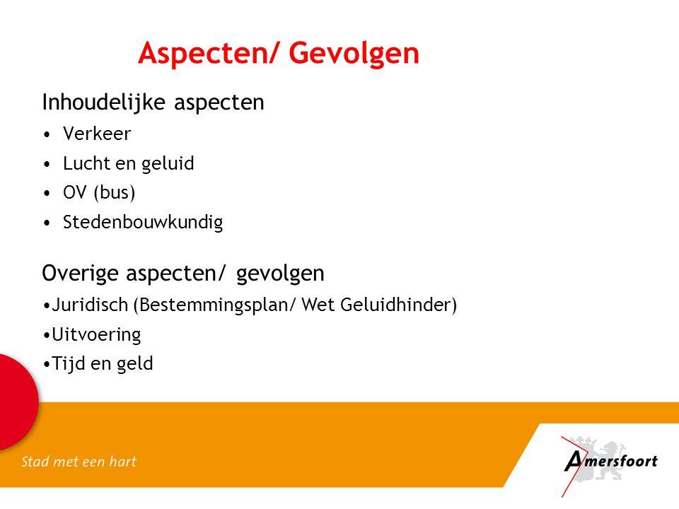 Aspecten/ Gevolgen Inhoudelijke aspecten Verkeer Lucht en geluid OV (bus) Stedenbouwkundig Overige aspecten/ gevolgen Juridisch (Bestemmingsplan/ Wet