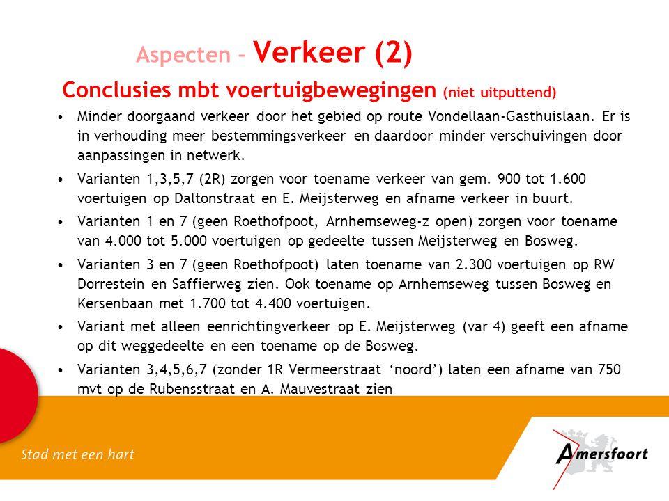 Conclusies mbt voertuigbewegingen (niet uitputtend) Minder doorgaand verkeer door het gebied op route Vondellaan-Gasthuislaan. Er is in verhouding mee