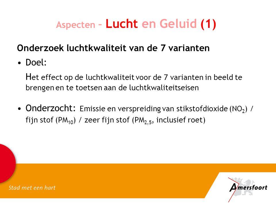 Aspecten – Lucht en Geluid (1) Onderzoek luchtkwaliteit van de 7 varianten Doel: H et effect op de luchtkwaliteit voor de 7 varianten in beeld te bren