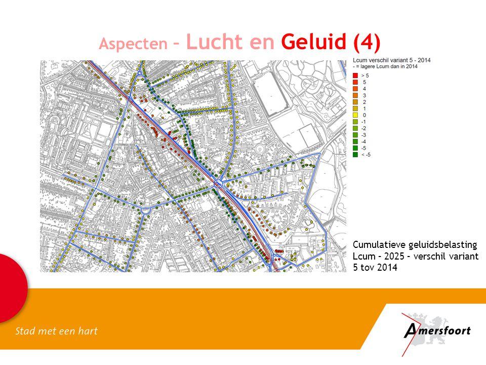 Aspecten – Lucht en Geluid (4) Cumulatieve geluidsbelasting Lcum – 2025 – verschil variant 5 tov 2014