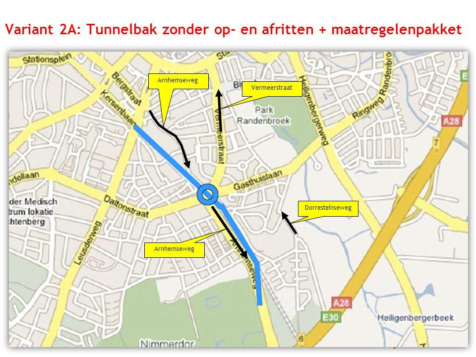 Vermeerstraat Dorresteinseweg Arnhemseweg Variant 2A: Tunnelbak zonder op- en afritten + maatregelenpakket