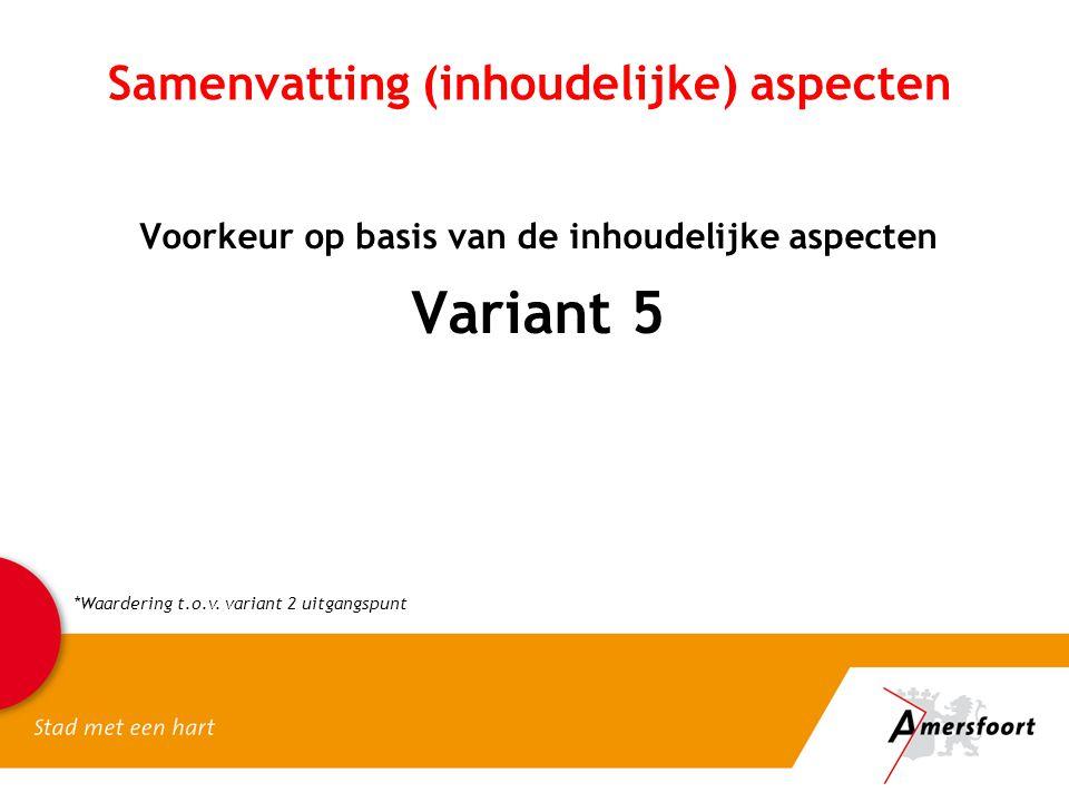 Samenvatting (inhoudelijke) aspecten Voorkeur op basis van de inhoudelijke aspecten Variant 5 *Waardering t.o.v. variant 2 uitgangspunt