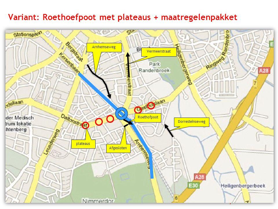 Variant: Roethoefpoot met plateaus + maatregelenpakket Arnhemseweg Vermeerstraat Dorresteinseweg plateaus Afgesloten Roethofpoot