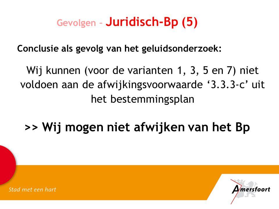 Gevolgen – Juridisch-Bp (5) Conclusie als gevolg van het geluidsonderzoek: Wij kunnen (voor de varianten 1, 3, 5 en 7) niet voldoen aan de afwijkingsvoorwaarde '3.3.3-c' uit het bestemmingsplan >> Wij mogen niet afwijken van het Bp