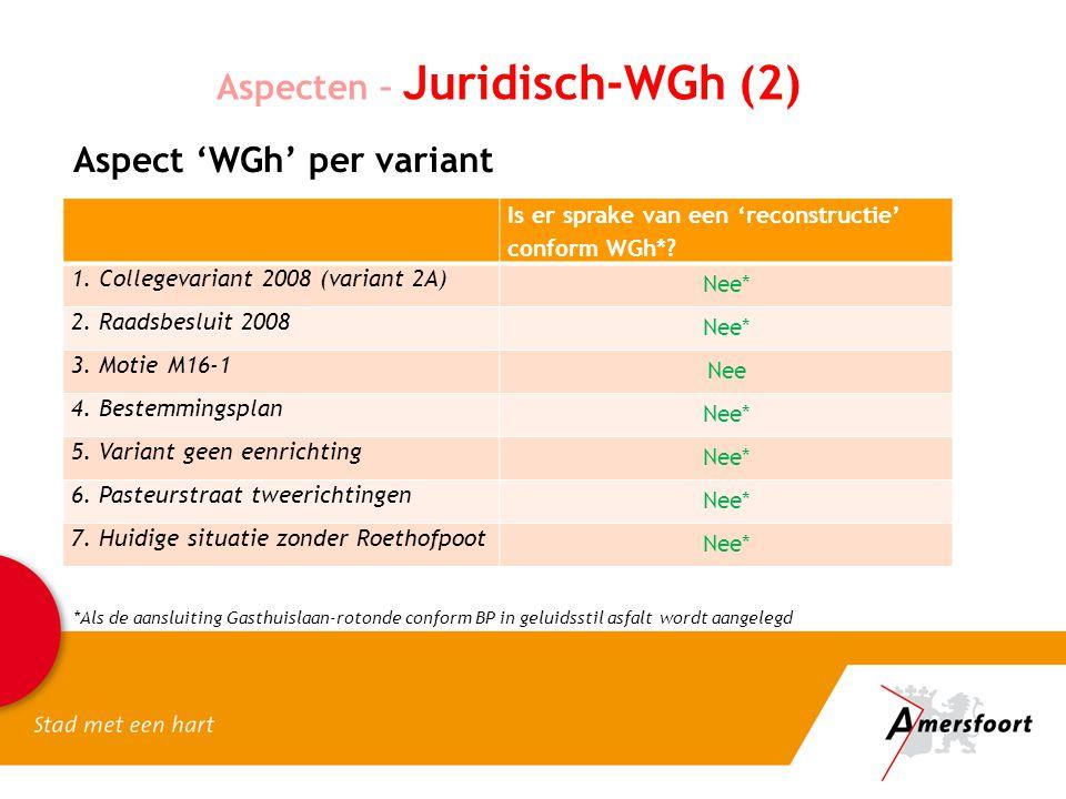 Aspecten – Juridisch-WGh (2) Aspect 'WGh' per variant Is er sprake van een 'reconstructie' conform WGh*? 1. Collegevariant 2008 (variant 2A) Nee* 2. R