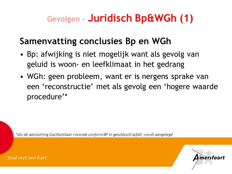 Gevolgen – Juridisch Bp&WGh (1) Samenvatting conclusies Bp en WGh Bp: afwijking is niet mogelijk want als gevolg van geluid is woon- en leefklimaat in