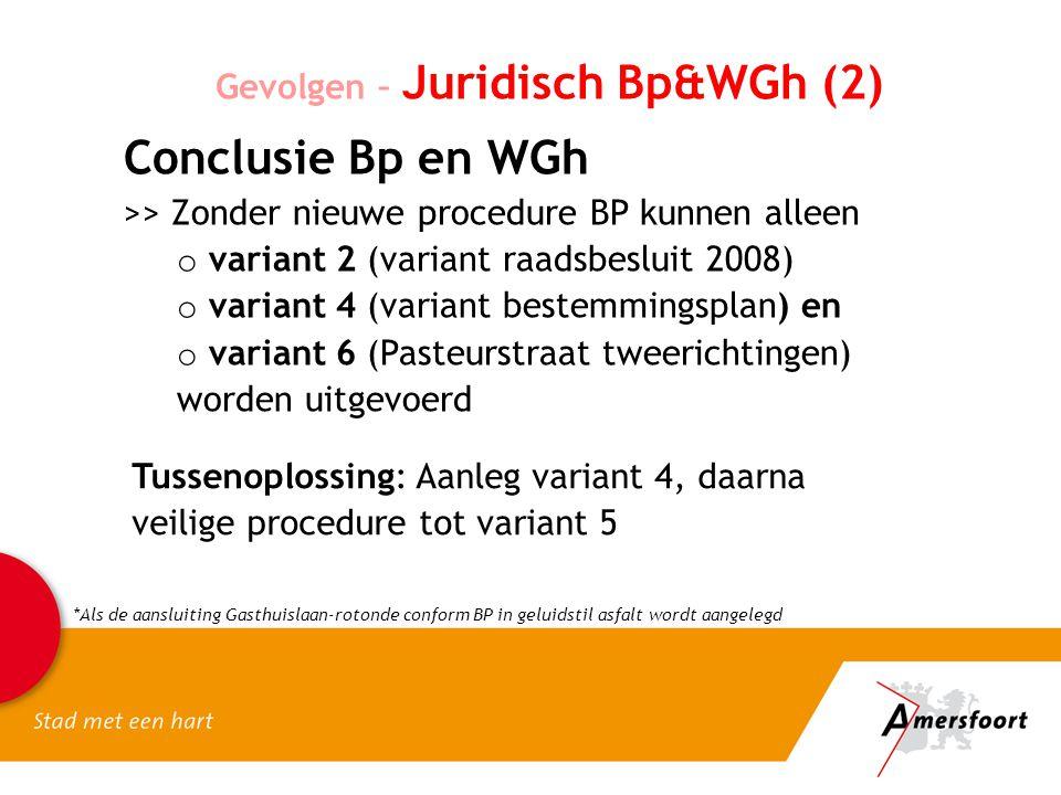 Gevolgen – Juridisch Bp&WGh (2) Conclusie Bp en WGh >> Zonder nieuwe procedure BP kunnen alleen o variant 2 (variant raadsbesluit 2008) o variant 4 (v