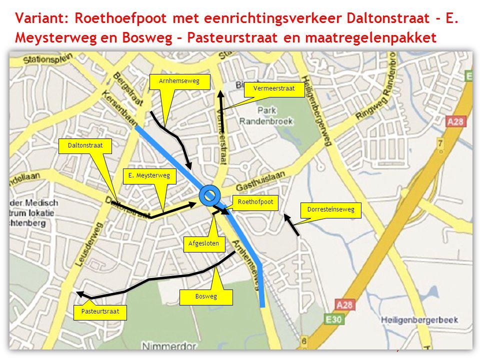 Variant: Roethoefpoot met eenrichtingsverkeer Daltonstraat - E. Meysterweg en Bosweg – Pasteurstraat en maatregelenpakket Dorresteinseweg Arnhemseweg