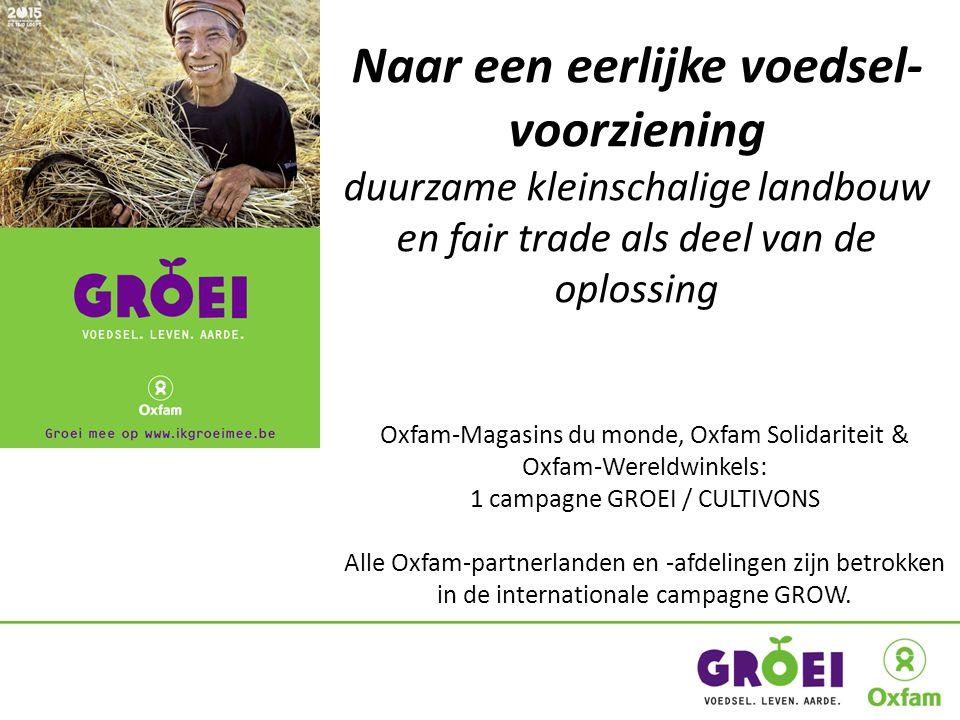 Naar een eerlijke voedsel- voorziening duurzame kleinschalige landbouw en fair trade als deel van de oplossing Oxfam-Magasins du monde, Oxfam Solidariteit & Oxfam-Wereldwinkels: 1 campagne GROEI / CULTIVONS Alle Oxfam-partnerlanden en -afdelingen zijn betrokken in de internationale campagne GROW.