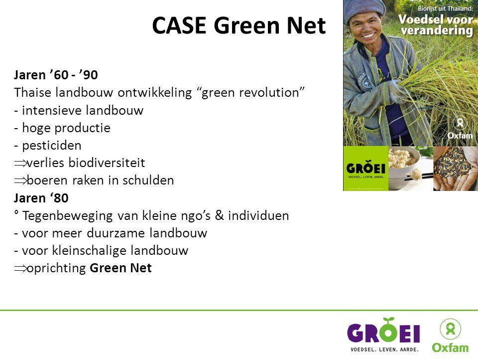 CASE Green Net Jaren '60 - '90 Thaise landbouw ontwikkeling green revolution - intensieve landbouw - hoge productie - pesticiden  verlies biodiversiteit  boeren raken in schulden Jaren '80 ° Tegenbeweging van kleine ngo's & individuen - voor meer duurzame landbouw - voor kleinschalige landbouw  oprichting Green Net