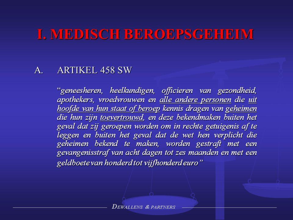 """I. MEDISCH BEROEPSGEHEIM  ARTIKEL 458 SW """"geneesheren, heelkundigen, officieren van gezondheid, apothekers, vroedvrouwen en alle andere personen die"""