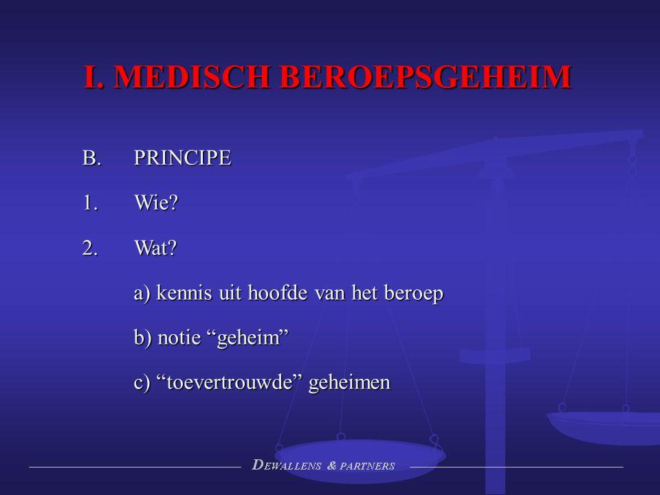 """I. MEDISCH BEROEPSGEHEIM B.PRINCIPE 1.Wie? 2.Wat? a) kennis uit hoofde van het beroep b) notie """"geheim"""" c) """"toevertrouwde"""" geheimen"""
