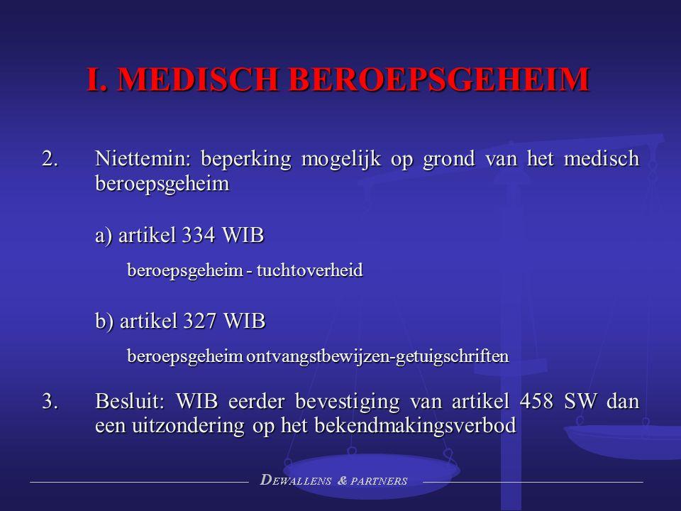 I. MEDISCH BEROEPSGEHEIM 2.Niettemin: beperking mogelijk op grond van het medisch beroepsgeheim a) artikel 334 WIB beroepsgeheim - tuchtoverheid beroe