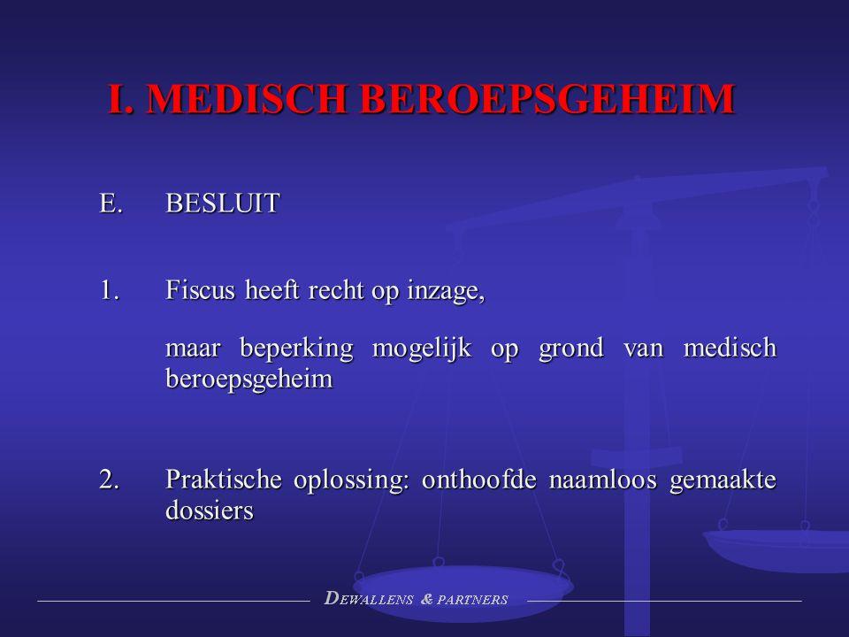 I. MEDISCH BEROEPSGEHEIM  BESLUIT  Fiscus heeft recht op inzage, maar beperking mogelijk op grond van medisch beroepsgeheim  Praktische oplossin
