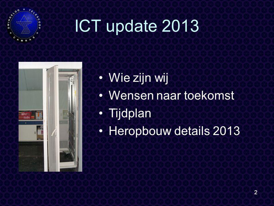 2 ICT update 2013 Wie zijn wij Wensen naar toekomst Tijdplan Heropbouw details 2013