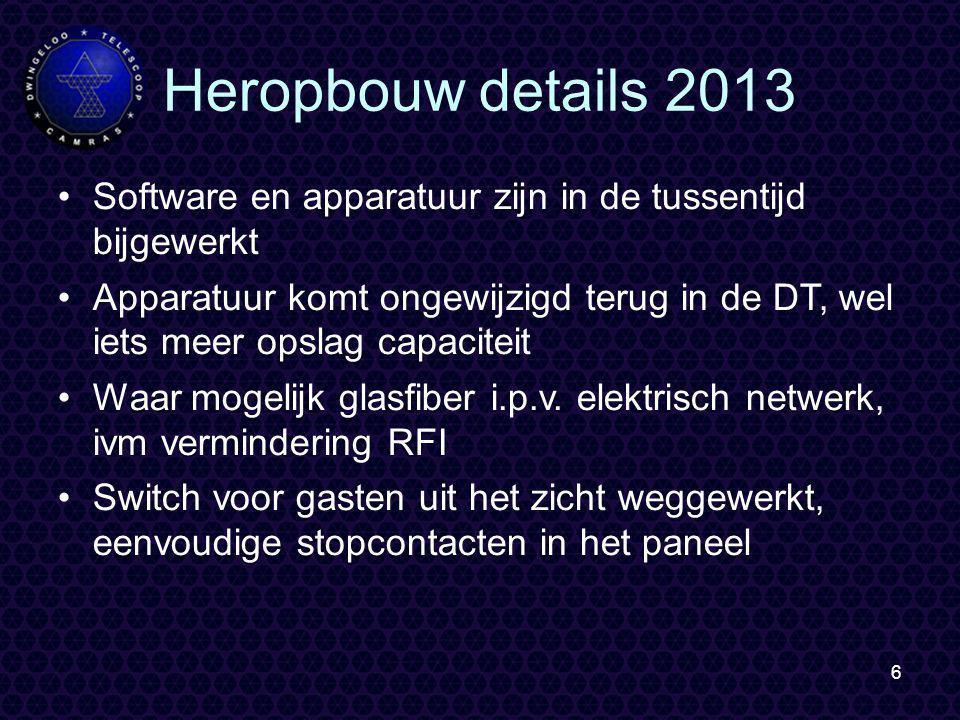 6 Heropbouw details 2013 Software en apparatuur zijn in de tussentijd bijgewerkt Apparatuur komt ongewijzigd terug in de DT, wel iets meer opslag capaciteit Waar mogelijk glasfiber i.p.v.