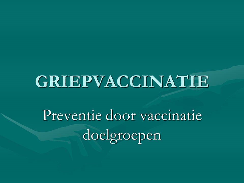 GRIEPVACCINATIE Preventie door vaccinatie doelgroepen