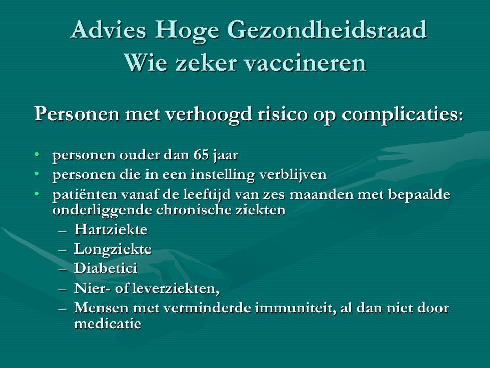 Advies Hoge Gezondheidsraad Wie zeker vaccineren Advies Hoge Gezondheidsraad Wie zeker vaccineren Personen met verhoogd risico op complicaties : Perso