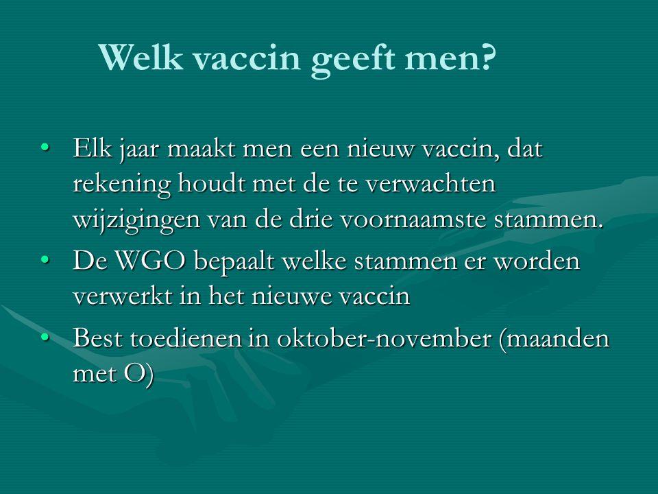 Elk jaar maakt men een nieuw vaccin, dat rekening houdt met de te verwachten wijzigingen van de drie voornaamste stammen.Elk jaar maakt men een nieuw