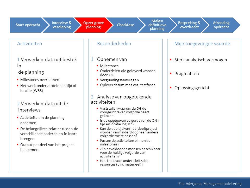 Activiteiten 1 Verwerken data uit bestek in de planning  Milestones overnemen  Het werk onderverdelen in tijd of locatie (WBS) 2 Verwerken data uit