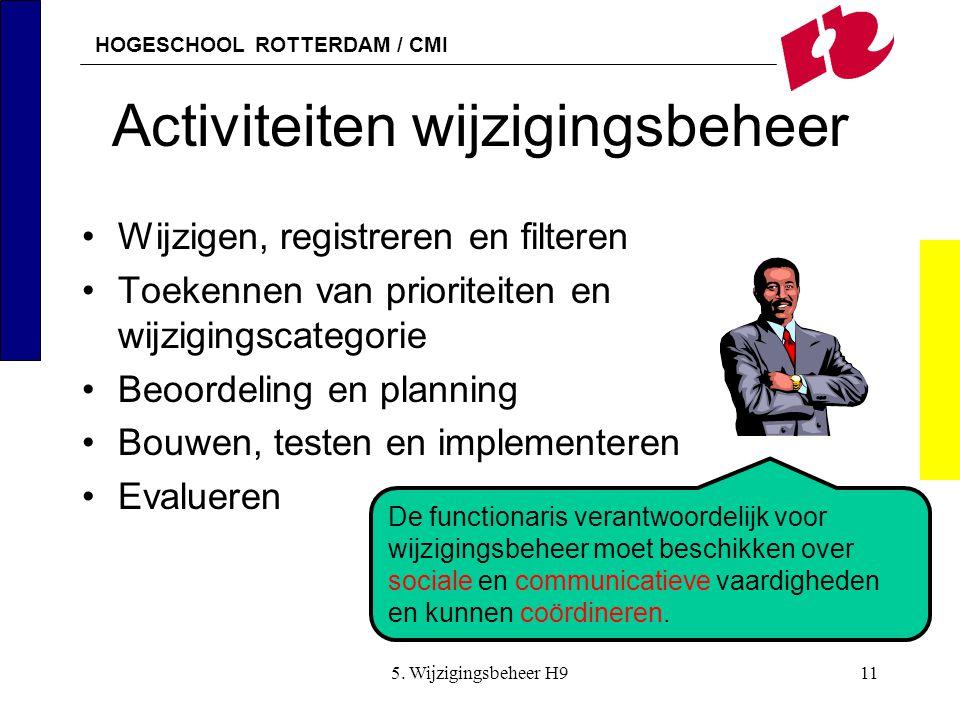 HOGESCHOOL ROTTERDAM / CMI 5. Wijzigingsbeheer H911 Activiteiten wijzigingsbeheer Wijzigen, registreren en filteren Toekennen van prioriteiten en wijz