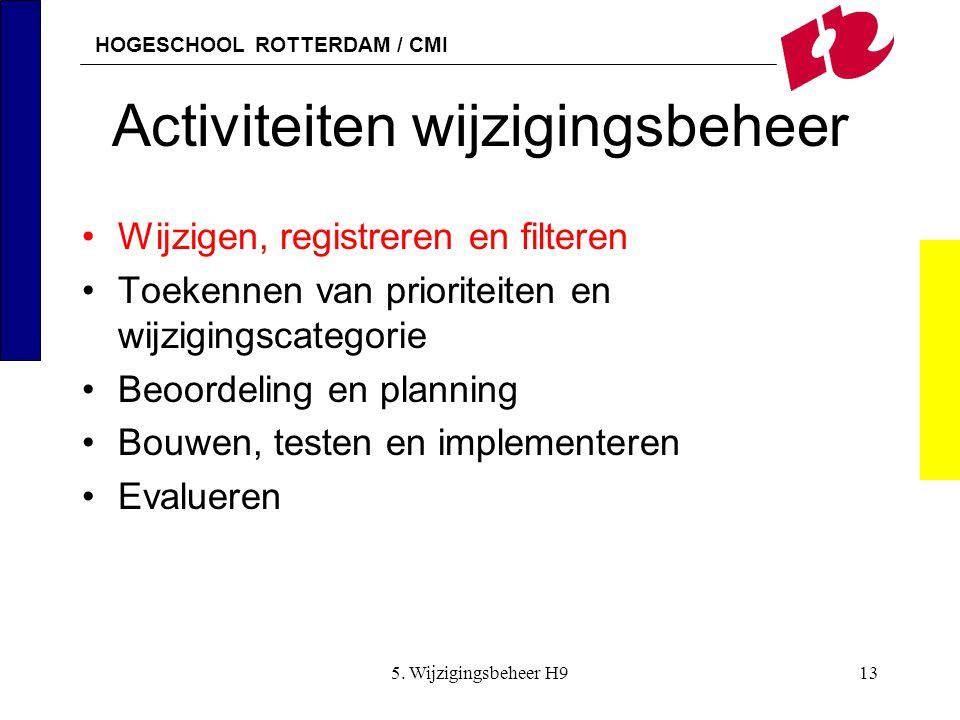 HOGESCHOOL ROTTERDAM / CMI 5. Wijzigingsbeheer H913 Activiteiten wijzigingsbeheer Wijzigen, registreren en filteren Toekennen van prioriteiten en wijz