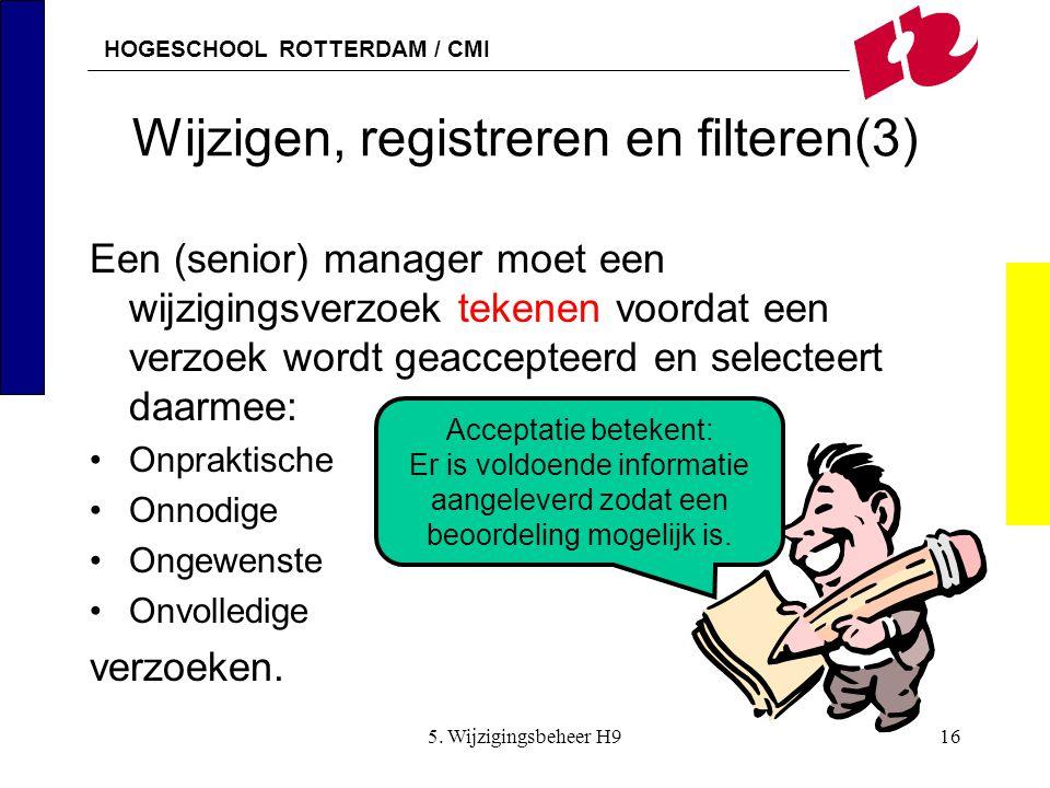 HOGESCHOOL ROTTERDAM / CMI 5. Wijzigingsbeheer H916 Wijzigen, registreren en filteren(3) Een (senior) manager moet een wijzigingsverzoek tekenen voord