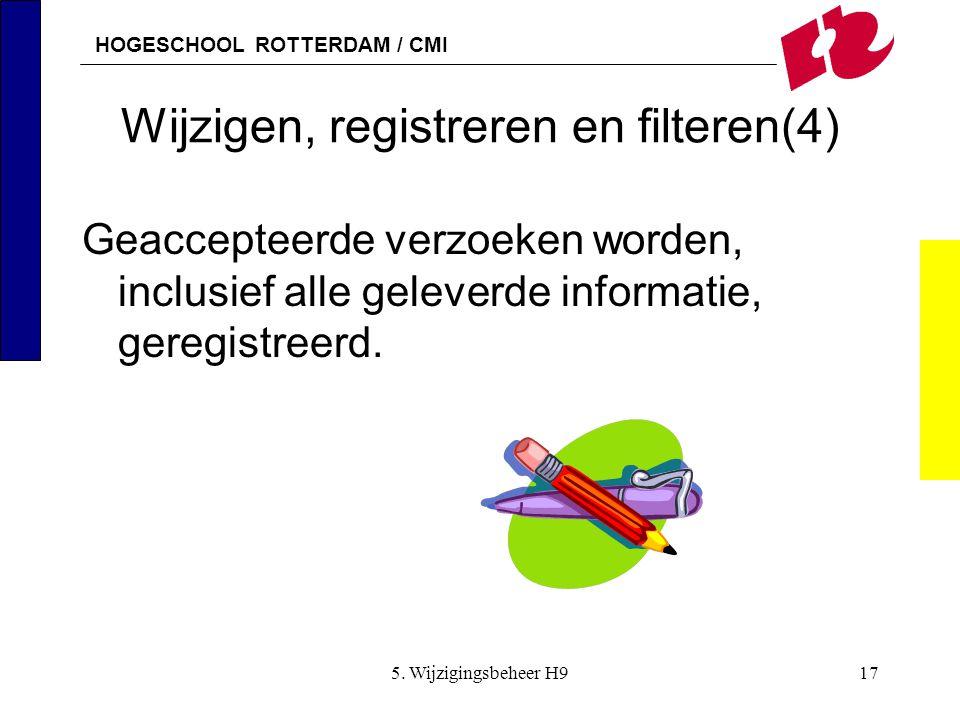 HOGESCHOOL ROTTERDAM / CMI 5. Wijzigingsbeheer H917 Wijzigen, registreren en filteren(4) Geaccepteerde verzoeken worden, inclusief alle geleverde info