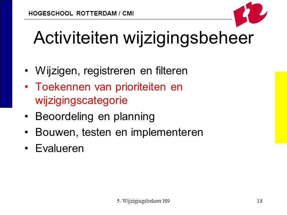 HOGESCHOOL ROTTERDAM / CMI 5. Wijzigingsbeheer H918 Activiteiten wijzigingsbeheer Wijzigen, registreren en filteren Toekennen van prioriteiten en wijz