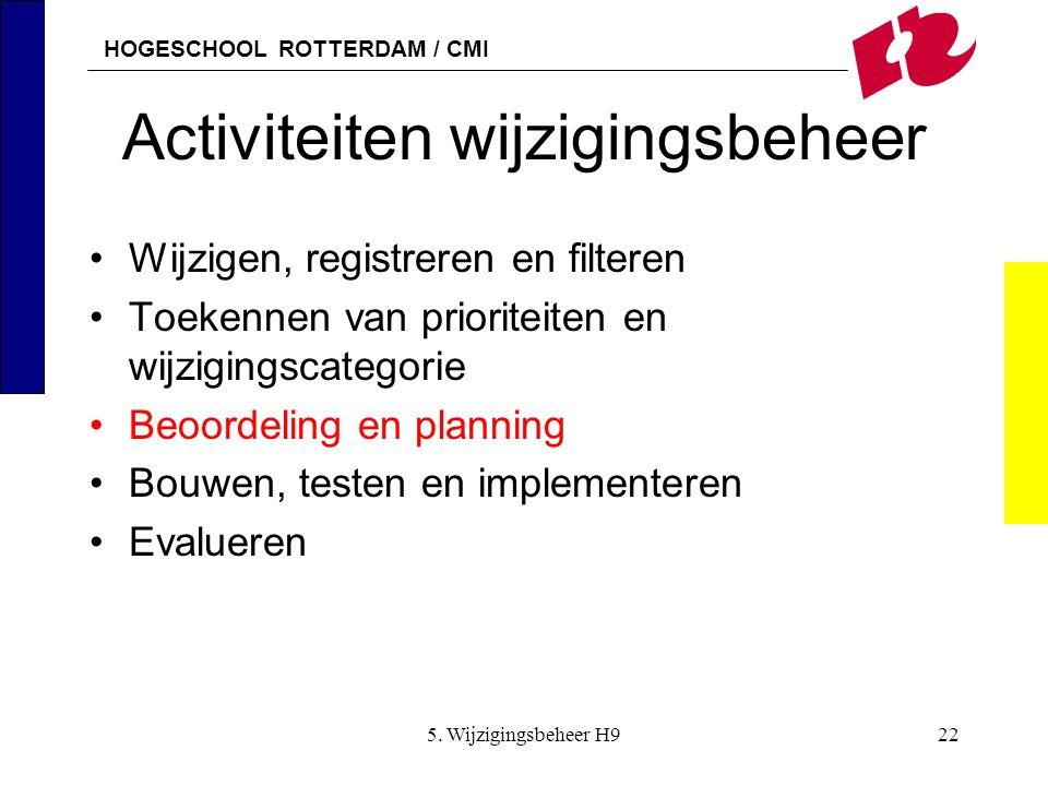 HOGESCHOOL ROTTERDAM / CMI 5. Wijzigingsbeheer H922 Activiteiten wijzigingsbeheer Wijzigen, registreren en filteren Toekennen van prioriteiten en wijz