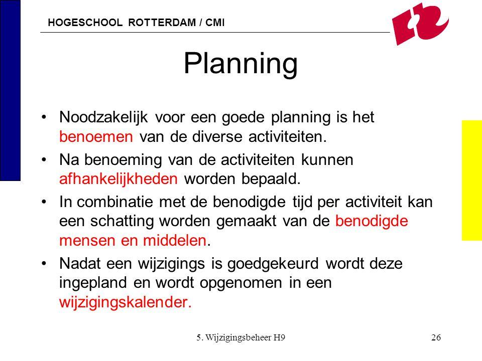 HOGESCHOOL ROTTERDAM / CMI 5. Wijzigingsbeheer H926 Planning Noodzakelijk voor een goede planning is het benoemen van de diverse activiteiten. Na beno