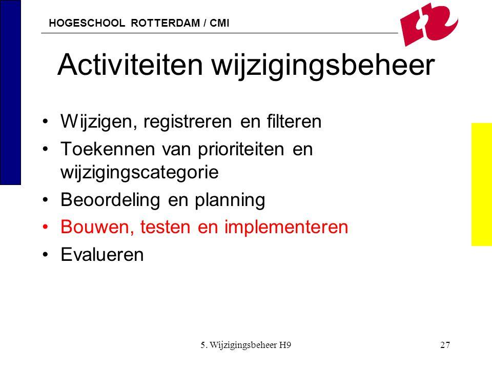 HOGESCHOOL ROTTERDAM / CMI 5. Wijzigingsbeheer H927 Activiteiten wijzigingsbeheer Wijzigen, registreren en filteren Toekennen van prioriteiten en wijz