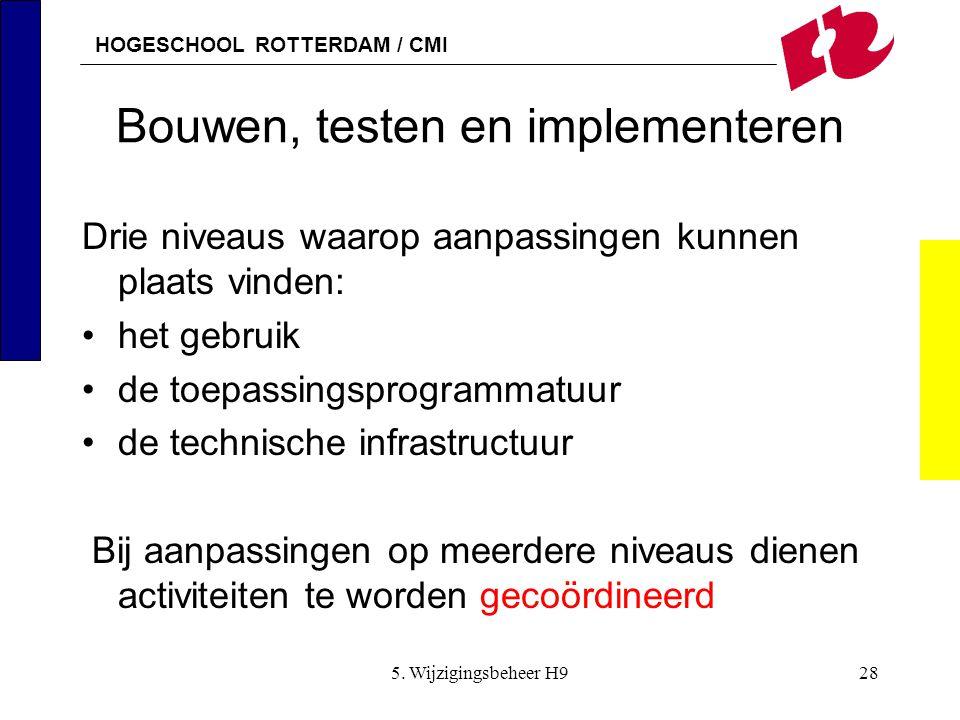 HOGESCHOOL ROTTERDAM / CMI 5. Wijzigingsbeheer H928 Bouwen, testen en implementeren Drie niveaus waarop aanpassingen kunnen plaats vinden: het gebruik