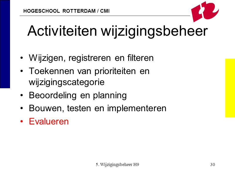 HOGESCHOOL ROTTERDAM / CMI 5. Wijzigingsbeheer H930 Activiteiten wijzigingsbeheer Wijzigen, registreren en filteren Toekennen van prioriteiten en wijz