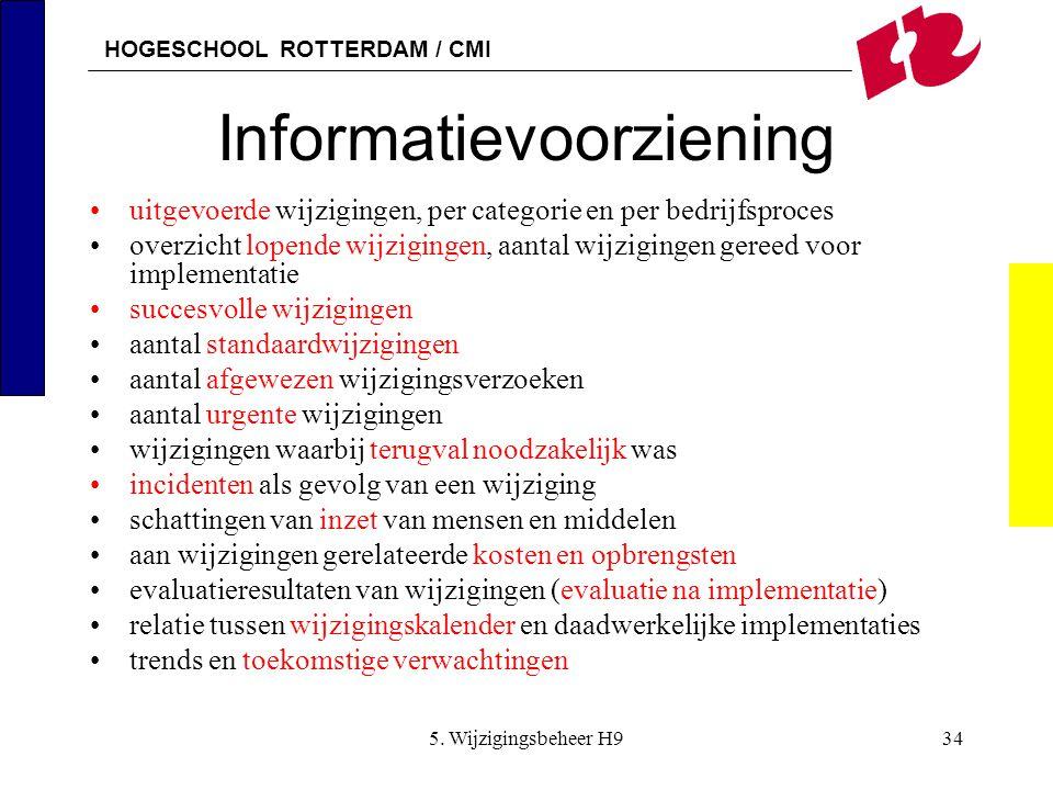 HOGESCHOOL ROTTERDAM / CMI 5. Wijzigingsbeheer H934 Informatievoorziening uitgevoerde wijzigingen, per categorie en per bedrijfsproces overzicht lopen