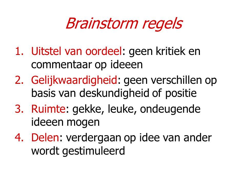 Brainstorm regels 1.Uitstel van oordeel: geen kritiek en commentaar op ideeen 2.Gelijkwaardigheid: geen verschillen op basis van deskundigheid of posi